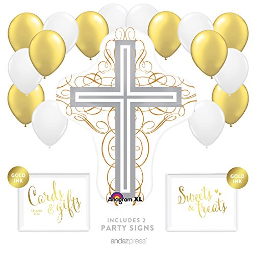 Andaz Press Balloon Party Kit with Signs, Baptism Christening Confirmation, Cross with White and Gold Balloons, Hanging Decor, Hanging Decorations, 19-Piece Kit, Christian, Catholic, Easter -