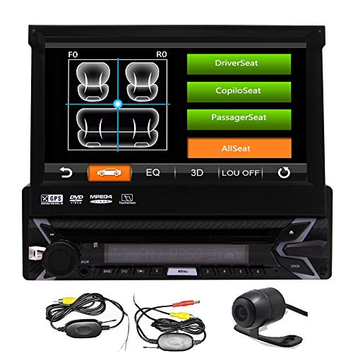 Single 1 Din in Dash Electronics Car Stereo Automotive Parts Bluetooth Radio Autoradio GPS Head Unit with SD Map Card 7 Inch Capacitive Touchscreen Auto CD DVD Player Wireless Rear View Camera