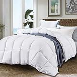 JURLYNE Clearance Sale, White Comforter King & Cal King Size - Quilted Reversible Duvet Insert - Hypoallergenic Breathable for Winter - Fluffy Down Alternative Comforter