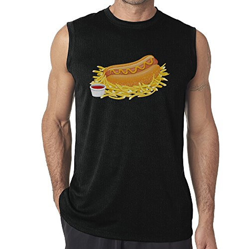 Hot Dog Costume Dance (Men's Tank Top Hot Dog With Ketchup Muscle Tank Top Shirts Medium)
