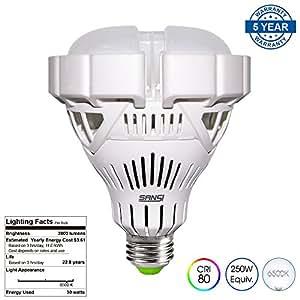 SANSI BR30 30W (250w-200w Equiv.) Ceramic LED Light Bulb-2800lm, 6500K Cool White, CRI 80, Non-dimmable, E26 Base Garage Basement Factory Warehouse Church Barn Sport Hall Security Task Lighting