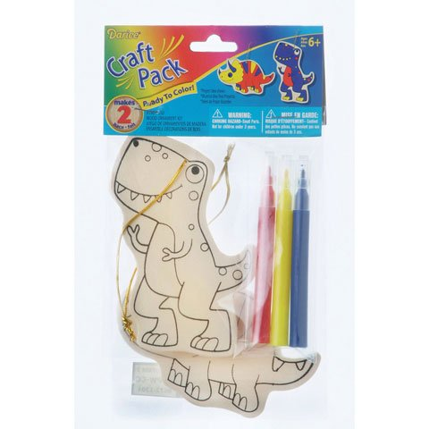 Bulk Buy: Darice Crafts for Kids Wood Ornament Kit Dinosaur Makes 2 (6-Pack)
