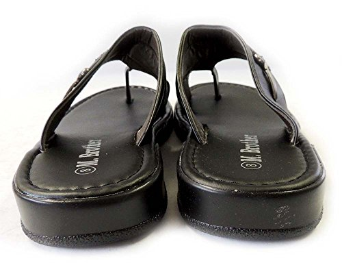 Toe Comfort Light New Sandals Flat Brother Mens M 08205 BLACK Slides Hold WEIGHT Shoes qH0vXxp