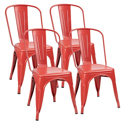 Flamaker Metal Dining Chairs Stackable Kitchen Dining Chairs Metal Chairs Bistro Cafe Side Chairs Height Restaurant Chairs Tolix Side Bar Chairs, Set of 4 (Red)