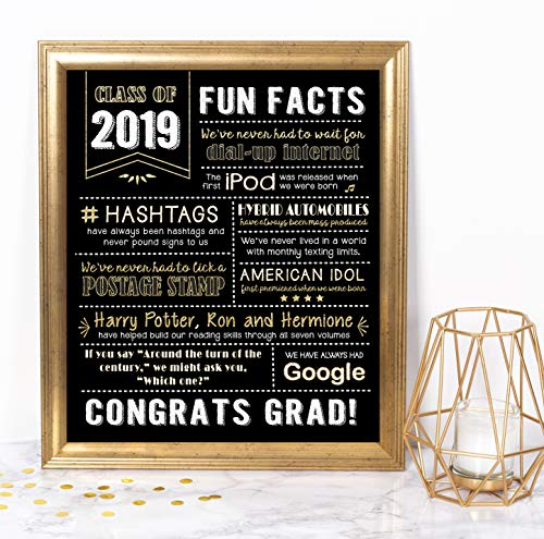 Katie Doodle Graduation Party Supplies 2019 Decorations Centerpieces Gifts | Includes 8x10 Class-of-2019 Sign [Unframed], SG019, -