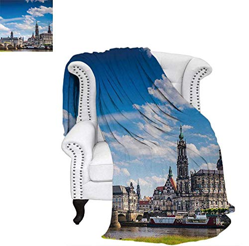 Weave Pattern Blanket Ancient Town Dresden Old German Architecture Historical European Scenery Image Custom Design Cozy Flannel Blanket 50