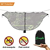 Hammock Bug Net 12'''' Camping Hammock Mosquito Net Superfine Mesh No See Ums Netting Single Double Camping Hammock Mosquito Net 360 Protection Bug Net Inner Light Loop - Black