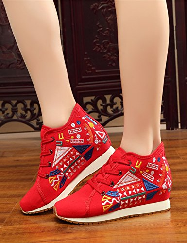 Embroidered Sneakers Shoes Shoes Geometric red Increased Casual Traveling Flats Cloth Canvas Jihe Walking Womens Fashion Fanwer qvwxOAtSw