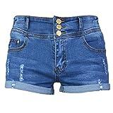 PHOENISING Women's Stylish Design High Waist Short Shorts Denim Hot Pants,Size 2-16