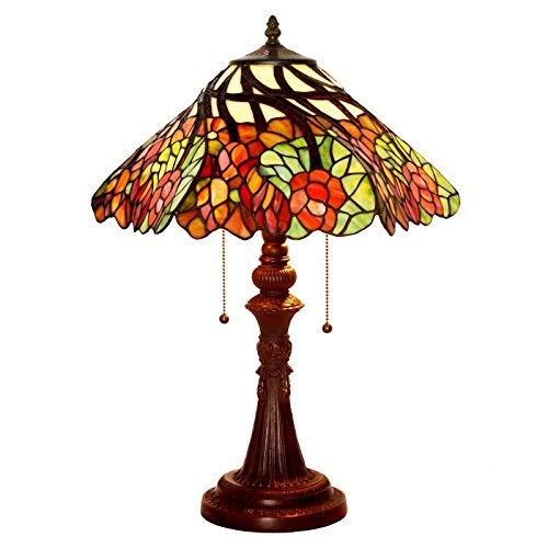 Bieye L10461 24 inch Lucky Flowers Tiffany Style Stained Glass Table Lamp with Zinc Base Review