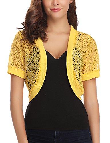 - Abollria Women Short Sleeve Floral Lace Shrug Open Front Bolero Cardigan Yellow