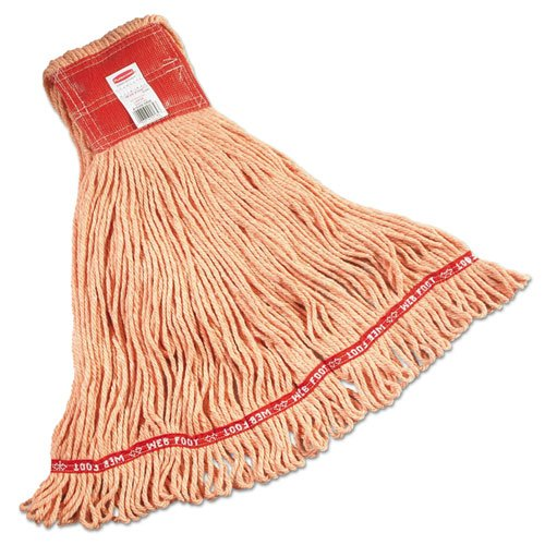 Rubbermaid Commercial Web Foot Wet Mop, Large, Orange w/Red Headband, Cotton/Synthetic Blend - six mop heads.