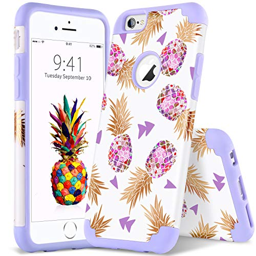 YINLAI iPhone 6S/6 Case, Cute Pineapple 2 in 1 Slim Hybrid Shockproof Hard PC Cover Soft Silicone Rubber Bumper Protective Durable Girly Women Phone Cases for 4.7 inch iPhone 6/6S, Purple/Lavender