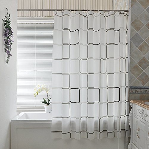ZIAIBK Shower Curtain,Shower Safety PEVA Material Mildew Resistant Water Proof Non Toxic with Hooks(72x72 inch)