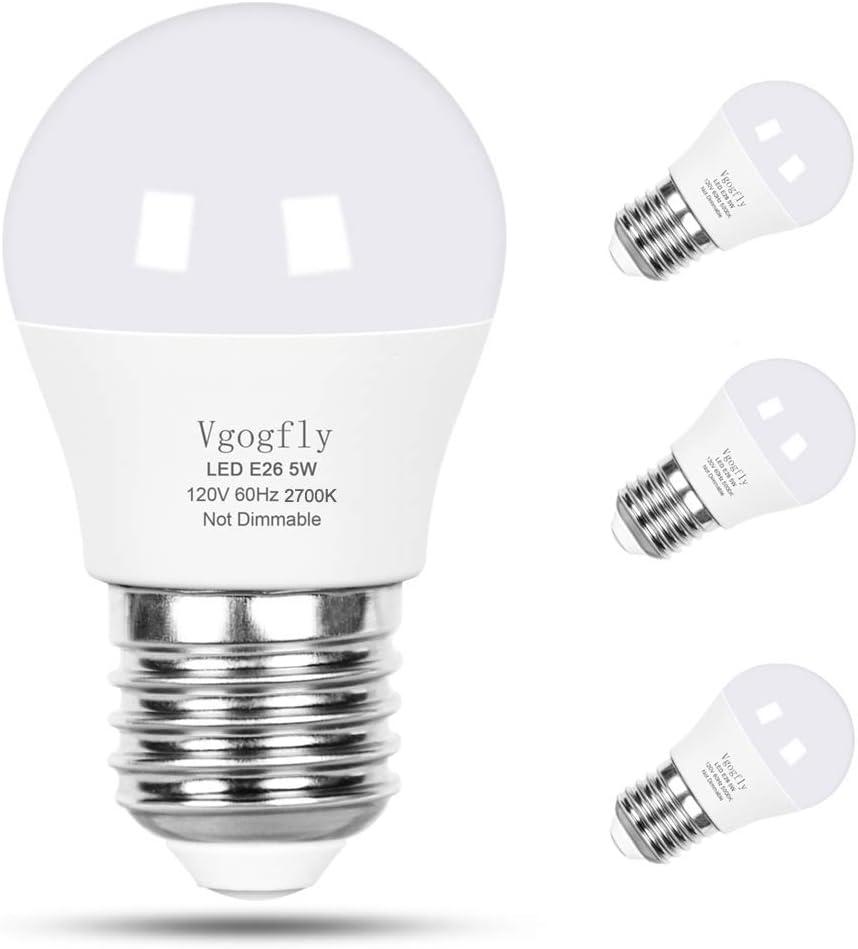 LED Bulb 5W 40 Watt Equivalent Light Bulbs Night Stand Bulb Table Lamp Bulb Warm White 2700K LED Energy Saving E26 Medium Screw Base for Home Light Bulb 4 Pack