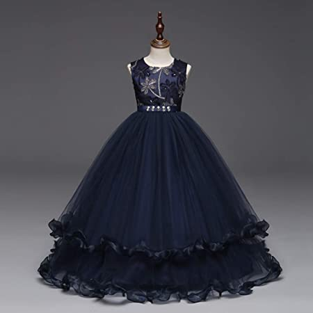 ea046cccd7b9 GHTWJJ Girls Evening Dresses Girl Prom Wedding Princess Dress Dress  Childrens Embroidered Tutu Blue Sleeveless