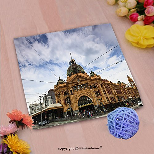 VROSELV Custom Cotton Microfiber Ultra Soft Hand Towel-melbourne city historic building flinders station railway victoria colonial style yellow brick Custom pattern of household (Colonial Crest Cabinet)