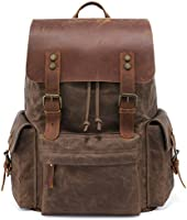 Kattee Large Leather Canvas Backpack School Bag Outdoor Travel Rucksack (Army Green)