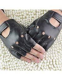 Men Black Punk Fuax Leather Gloves Half Finger Fingerless Biker Sports Cycling