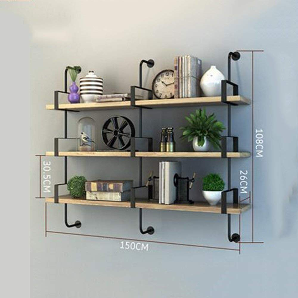 3 Layers 150cm DYR Shelving Multi-Storey Shelving Wall Suspension for Bedroom Club Hotel Living Room (color  1 Layer 100cm)