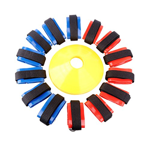 Ueasy 10 Players or 14 Players Flag Football Set (Belts, Flags, Disc Cones, Carry Bag) For Kids Youth Adult Football Training (Blue+Red for 14 Players)