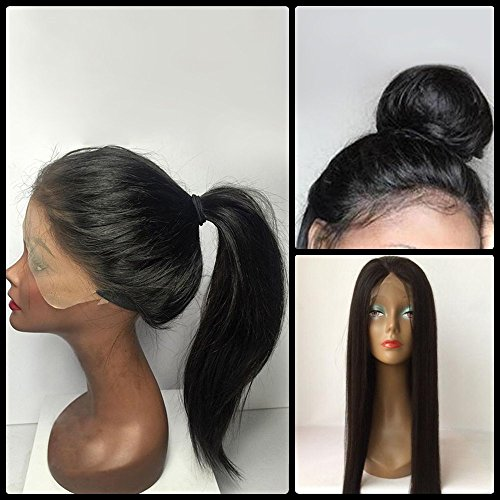Wigs For Older Women (100 % Brazilian Virgin Hair Black Lace Front Wigs Long Straight Middle Parting Human Hair Black Women Wigs)