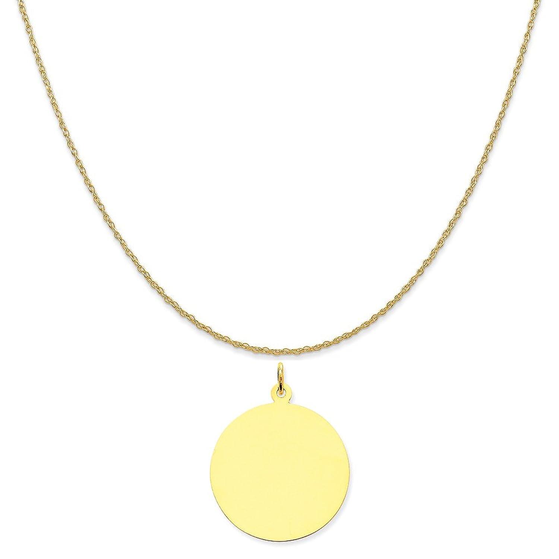 10 K黄色ゴールドプレーン.018ゲージ円形彫刻できるディスクチャームon aロープチェーンネックレス、16インチ- 20インチ B01MSMY455 チャーム+20インチロープチェーン
