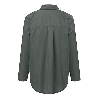 BaZhaHei Camisas Mujer Casual Camiseta de Cuello Alto de Solapa Casual para Mujer Camisetas de Manga Larga de Blusa de Hebilla para niña Camisas De ...