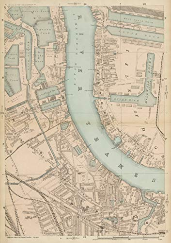 Millwall DEPTFORD Surrey & West India Docks Isle of Dogs Canary Wharf - c1887 - Old map - Antique map - Vintage map - Printed maps of ()
