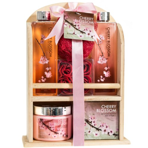 Cherry Blossom - Bath & Body Gift Set - In a Natural Wood Shelf Display - With Shea Butter & Vitamin E (Set Gift Body Bath)
