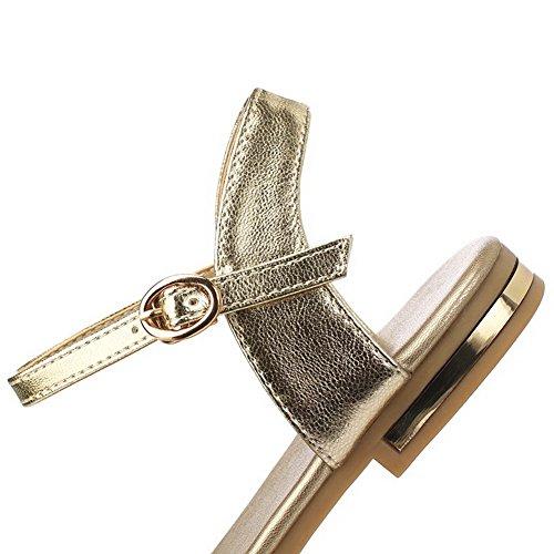 Punta Gold No VogueZone009 para abierta Hebilla Blend Flats Heel mujer Sandals Sólidos Materials qgga7Bx4t