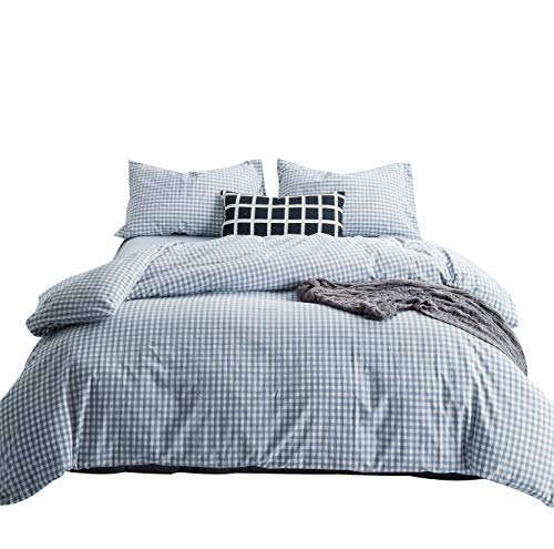 SUSYBAO 3 Pieces Duvet Cover Set 100% Natural Washed Cotton King Size 1 Duvet Cover 2 Pillowcases Hotel Quality Soft Comfortable Breathable Durable Pale Blue Gingham Plaid Bedding with Zipper Ties
