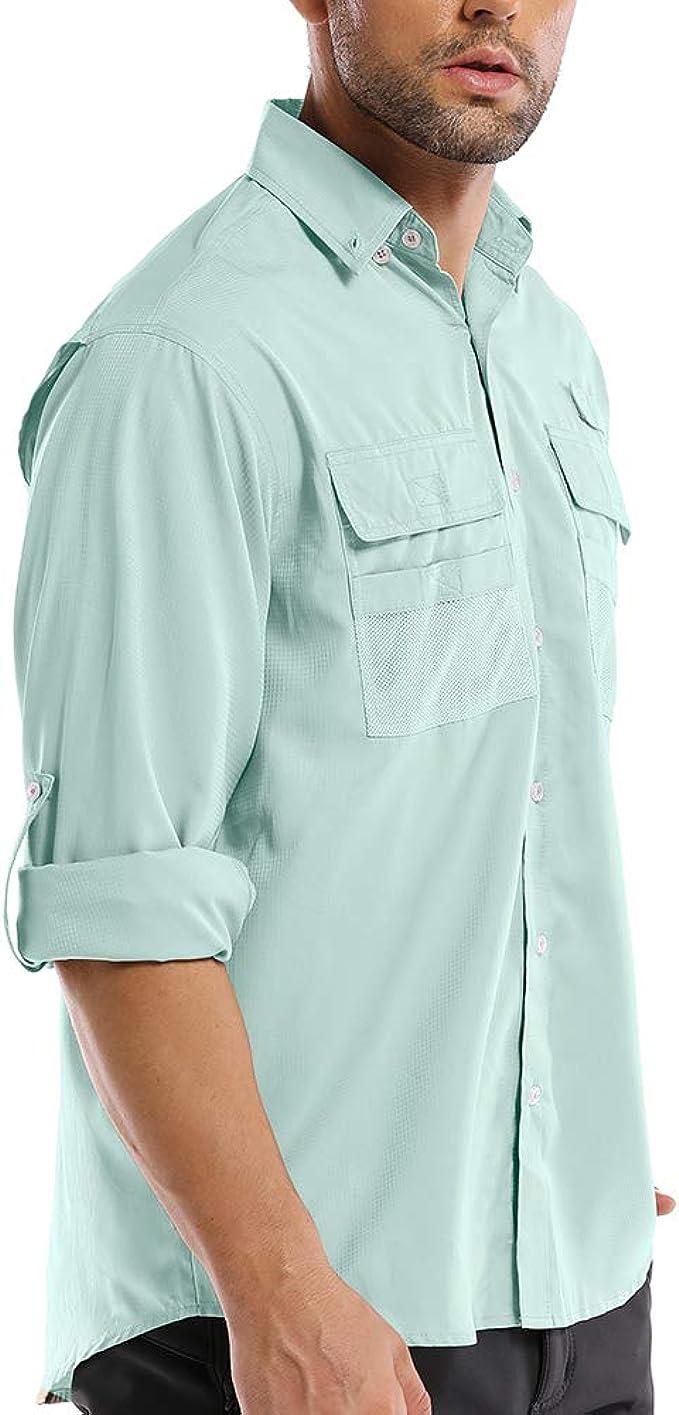 Camiseta de Manga Larga para Hombre, protección Solar UV, Senderismo, Pesca, Safari, Secado rápido