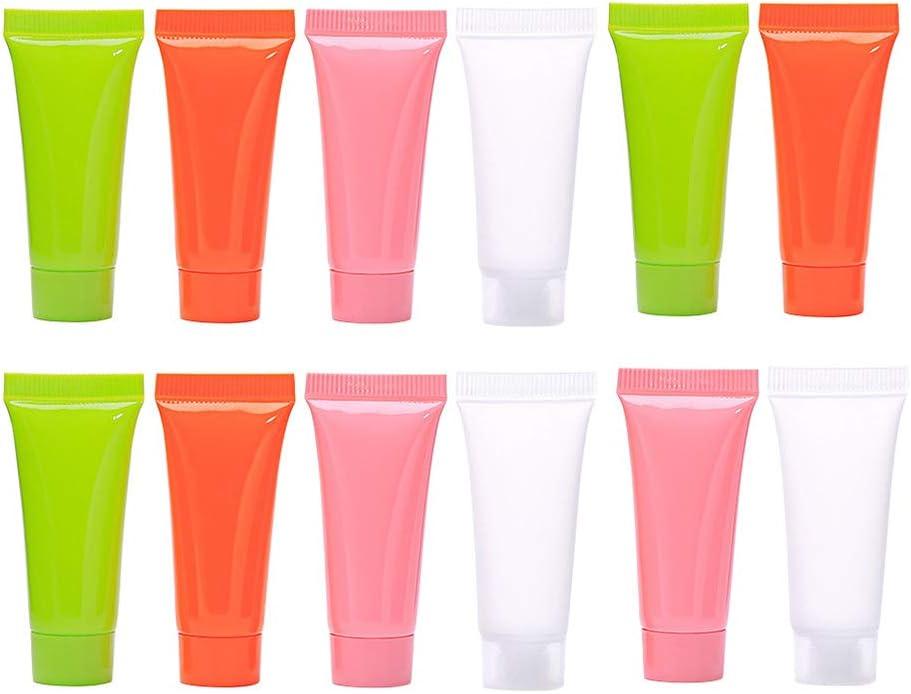 Minkissy 20 Piezas 5 Ml Tubos de Plástico Recargables Vacíos Botellas de Embalaje Champú Botellas de Muestra de Maquillaje con Tapa Abatible Botellas de Viaje Desechables
