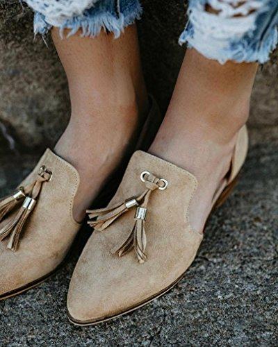 singole scarpa Caviglia Scarpe Scarpe Elecenty Cachi Pelle Moda eleganti Autunno Donna Nappe Romon Solid estive gqxxawOf