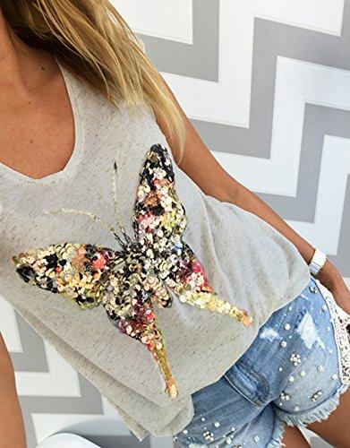 Chemisiers Gris Tops Onenight Gilets Et Sexy Haut Col Papillon Femme Fashion Shirts Blouses Mancherons V Sequin wpR0AnRZq