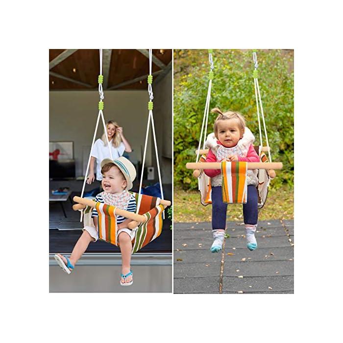 51wlmtV HAL ✅ REASEGURACIÓN - ENVUELTO: Diseñado con un estilo envolvente, construido con 4 tacos de madera lisa de alta calidad para soporte múltiple y manos que lo sostienen. Para evitar que el bebé se caiga o duela, y deja la pierna abierta para un estiramiento flexible. El bebé puede desarrollar naturalmente su equilibrio en un momento feliz de swing. ✅ CALIDAD SATISFACTORIA: Hecho de tela de lino de lino natural y duradera con un toque hipoalergénico, agradable para la piel y plano, lo que hace que no raye la piel del bebé como tienden a hacerlo las bases duras de columpio. Fresco y transpirable en los calurosos días de verano. Pero POR FAVOR, NO deje al bebé solo, independientemente de lo seguro que sea. (Este asiento de columpio de tela para bebé tiene capacidad para un bebé de 6 meses a 3 años de edad hasta 132 lb / 60 kg. ) ✅ DISEÑO CÓMODO: ❤Viene con cojines de almohada suaves y adorables que combinan para un respaldo y una sentada cómodos.❤ Viene con una cuerda ajustable en longitud, rango de 125CM a 145CM, y el cojín desmontable se siente más cómodo y seguro. Creemos que su hijo se divertirá más jugando con él.