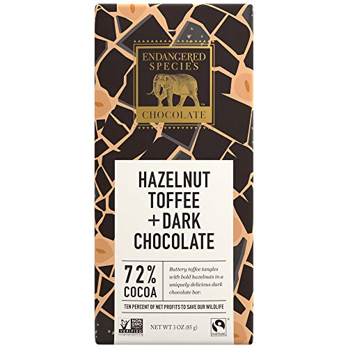 (Endangered Species Black Rhino, Natural Dark Chocolate (72%) with Hazelnut Toffee, 3-Ounce Bars (Pack of 12))