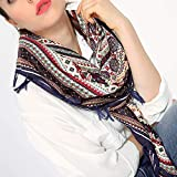Women Ladies Shawls Wraps Ankola Square Scarves Tassel Printed Scarf (Navy)