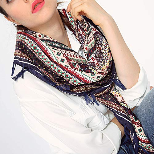 Women Ladies Shawls Wraps Ankola Square Scarves Tassel Printed Scarf (Navy) by Ankola