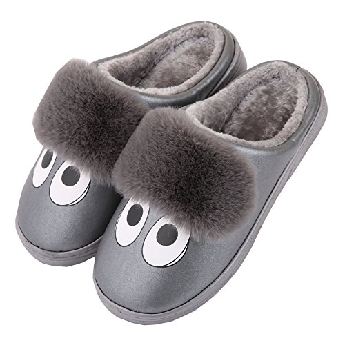 Dibujos animados cuero de la PU familia zapatillas de casa-Unisexo invierno calentar felpa zapatos botas Gris