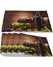 Moslion Wood Texture Placemats,Vintage Nature Wooden Board Striped Pattern Brown Blue Place Mats for Dining Table/Kitchen Table,Waterproof Non-Slip Washable Outdoor Dinner Table Mats