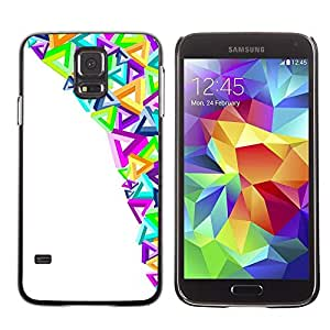 FECELL CITY // Duro Aluminio Pegatina PC Caso decorativo Funda Carcasa de Protección para Samsung Galaxy S5 SM-G900 // Modern Art Triangles Colorful Purple