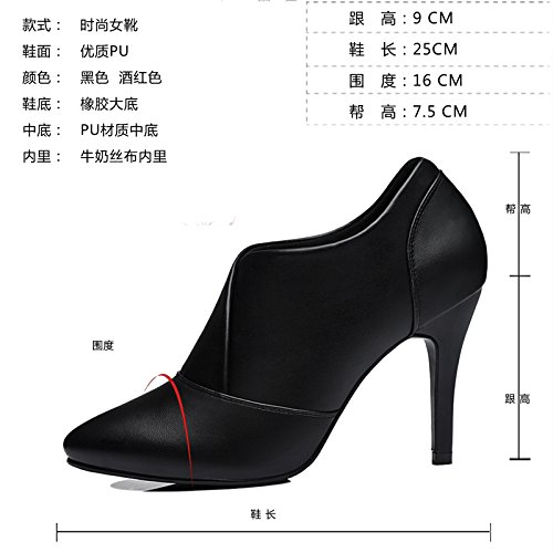 New A Shoes Spring Documentary Tide Shoes Fine Ladies Shoes Fashion With All Spring Female Match High Black KPHY Heeled wYAxq