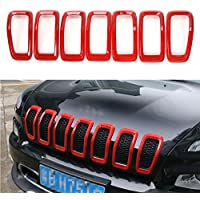 FMtoppeak Red Car Accessories Front Grille Inserts Mesh Grill Cover For Jeep Cherokee 2014-2016