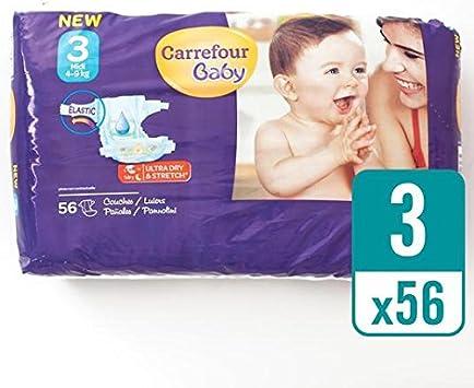 Carrefour bebé Ultra Dry pañales tamaño 3 Pack de 56 por paquete: Amazon.es: Bebé
