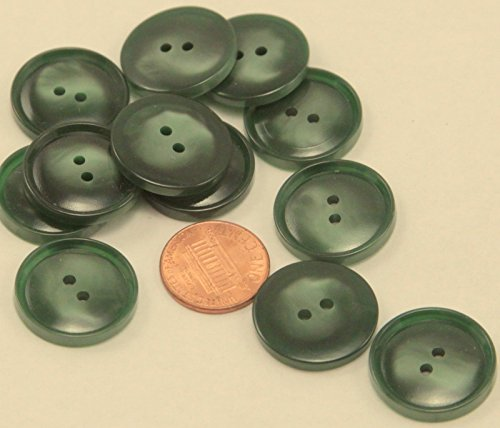 Lot of 12 Shiny Pearlized Green Plastic Buttons Almost 7/8