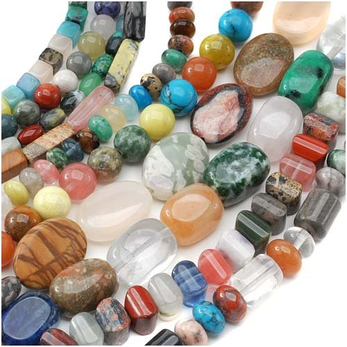 Assorted Gemstone Beads (Gemstone Bead Lot Mix #2 Assorted Shapes, Sizes, Colors 70 Inches Total)