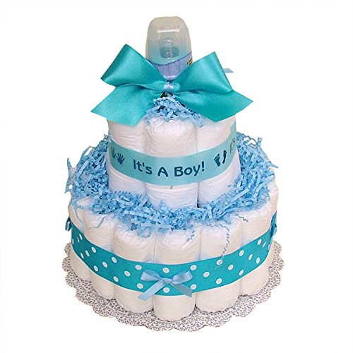 Classic Blue Baby Shower Diaper Cake (2 Tier) , lue Baby Boy Diaper Cake - Boy Diaper Cake, Blue Diaper Cake,It's aBoy Diaper Cake, Baby Shower Centerpiece/ New Baby Gift/ Welcome Baby Gift ()