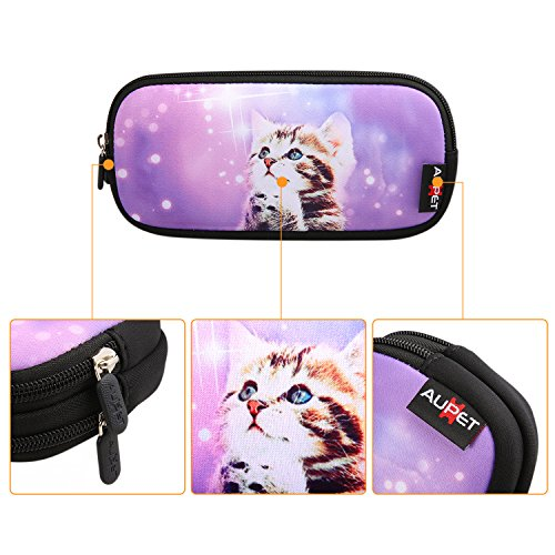 AUPET Pencil Case, Large Capacity Pencil Bag with Two Compartments Durable Zipper Students Stationery Pen Bag for Pens, Pencils, Markers, Eraser and Other School Supplies (Purple Wish Cat) by AUPET (Image #2)